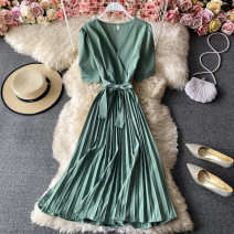 Dress Winter 2020 Green, blue, black, yellow, rose, light brown, fluorescent green, chocolate, red Average size Mid length dress singleton  Short sleeve commute V-neck High waist Solid color Socket A-line skirt routine Others 18-24 years old Type A Korean version 30% and below other other