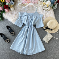 Dress Spring 2020 White, black, blue, dark pink Average size Mid length dress singleton  Short sleeve commute One word collar High waist Solid color Socket A-line skirt other Others 18-24 years old Type A Korean version Ruffle, tuck, open back, fold, stitching, asymmetry other other