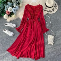 Dress Autumn of 2019 Average size Mid length dress singleton  Long sleeves commute V-neck High waist Solid color Socket Irregular skirt routine Others 18-24 years old Type A Korean version 31% (inclusive) - 50% (inclusive) other