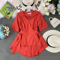 Lace / Chiffon Summer of 2019 Average size Short sleeve commute Socket singleton  Self cultivation Regular V-neck Solid color routine 25-29 years old Korean version 30% and below polyester fiber