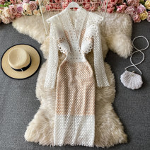 Dress Spring 2021 Off white, black, blue, pink, red M,L,XL Mid length dress singleton  Long sleeves commute V-neck High waist Solid color Socket A-line skirt routine Others 18-24 years old Type A Korean version 30% and below other other