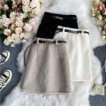 skirt Summer 2021 S,M,L Black, lotus root, off white Short skirt commute Natural waist other Solid color Type A 18-24 years old 30% and below other other Bandage