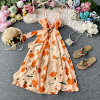 Dress Summer 2020 Orange powder S,M,L,XL Mid length dress singleton  Sleeveless commute V-neck High waist Decor Socket Big swing routine camisole 18-24 years old Type A Korean version Bow, ruffle, tuck, open back, lace up, stitching, asymmetry, bandage