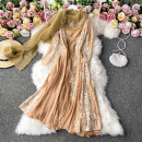 Dress Winter 2020 Ginger  S,M,L,XL Mid length dress singleton  Long sleeves commute Crew neck High waist Solid color Socket A-line skirt routine Others 18-24 years old Type A Korean version 30% and below other other