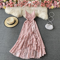 Dress Spring 2021 S,M,L Mid length dress singleton  Sleeveless commute V-neck High waist Decor Socket Ruffle Skirt other 18-24 years old Type A Korean version 30% and below other other