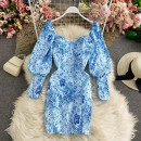Dress Winter 2020 sky blue Average size Mid length dress singleton  Long sleeves commute square neck High waist Decor Socket A-line skirt routine Others 18-24 years old Type A Korean version 30% and below other other