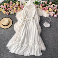 Dress Winter 2020 white S,M,L,XL Mid length dress singleton  Long sleeves commute Hood High waist Solid color Socket A-line skirt routine Others 18-24 years old Type A Korean version 30% and below other other
