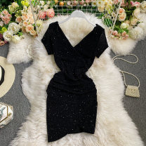 Dress Spring 2021 black Average size Short skirt singleton  Short sleeve commute V-neck High waist Solid color Socket A-line skirt routine Others 18-24 years old Type A Korean version fold 30% and below other other