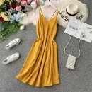 Dress Autumn of 2019 yellow S,M,L Mid length dress singleton  Sleeveless commute V-neck High waist Solid color Socket A-line skirt other camisole 18-24 years old Type A Korean version Pleating, open back, folding, splicing, asymmetry, wave 31% (inclusive) - 50% (inclusive) other other