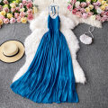 Dress Autumn 2020 blue Average size Mid length dress singleton  Long sleeves commute V-neck High waist Solid color Socket A-line skirt routine Others 18-24 years old Type A Korean version 30% and below other other