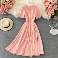 Dress Summer 2021 Black, pink, red M, L Mid length dress singleton  Short sleeve commute V-neck High waist Solid color Socket A-line skirt routine 18-24 years old Type A Korean version fold 30% and below other other
