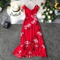 Dress Summer 2017 gules S,M,L,XL Mid length dress singleton  Short sleeve commute One word collar High waist Decor Socket Ruffle Skirt other Others 18-24 years old Type A Korean version Ruffle, pleated, open back, asymmetrical, wavy, printed