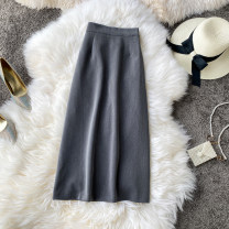 skirt Summer 2021 S,M,L Gray, light brown, khaki, black Mid length dress commute High waist other Solid color Type A 18-24 years old 31% (inclusive) - 50% (inclusive) other other Asymmetry