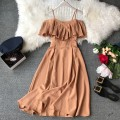 Dress Summer of 2019 Red, khaki, green, blue, orange, black, light blue, apricot, yellow M, L Mid length dress singleton  Short sleeve commute One word collar High waist Solid color Socket Princess Dress pagoda sleeve camisole 18-24 years old Type A Korean version 51% (inclusive) - 70% (inclusive)