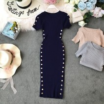 Dress Summer of 2019 Average size Mid length dress singleton  Short sleeve commute Crew neck High waist Solid color Socket One pace skirt other Others 18-24 years old Type X Korean version Open back, asymmetric, button 31% (inclusive) - 50% (inclusive) knitting