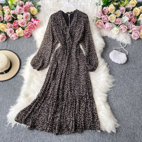 Dress Autumn 2020 White, black Average size Mid length dress singleton  Long sleeves commute V-neck High waist Decor Socket A-line skirt routine Others 18-24 years old Type A Korean version 30% and below other other