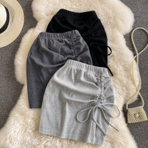 skirt Summer 2021 Average size Black, dark grey, light grey Short skirt commute High waist skirt Solid color Type H 18-24 years old 30% and below other other Tuck, lace up Korean version