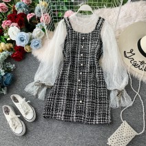 Dress Winter 2020 black M, L Middle-skirt Two piece set Long sleeves commute Crew neck High waist Solid color Socket A-line skirt pagoda sleeve camisole 18-24 years old Type A Korean version Ruffles, tassels, open back, folds, stitching, asymmetry, beads, waves, buttons, zippers, lace other other