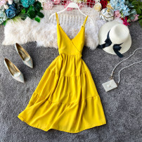 Dress Spring 2020 Light green, light blue, pink, red, yellow, black, apricot, jujube Average size Mid length dress singleton  Sleeveless commute V-neck High waist Solid color zipper A-line skirt other camisole 18-24 years old Type A Korean version 31% (inclusive) - 50% (inclusive) other other