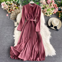 Dress Winter 2020 Rose, ginger, black, yellow, light green, red Average size Mid length dress singleton  Long sleeves commute V-neck High waist Solid color Socket A-line skirt routine Others 18-24 years old Type A Korean version 30% and below other other