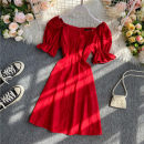 Dress Summer 2020 gules S,M,L Middle-skirt singleton  Short sleeve commute square neck High waist Solid color Socket A-line skirt puff sleeve 18-24 years old Type A Korean version Button 30% and below