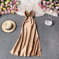 Dress Autumn 2020 golden S,M,L,XL Mid length dress singleton  Sleeveless commute V-neck High waist Decor Socket A-line skirt routine camisole 18-24 years old Type A Korean version 30% and below other other