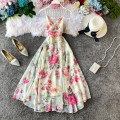 Dress Spring 2020 Picture color S,M,L Mid length dress singleton  Sleeveless commute V-neck High waist Broken flowers zipper A-line skirt other camisole 18-24 years old Type A Korean version 31% (inclusive) - 50% (inclusive) other other