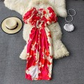 Dress Winter 2020 gules S,M,L,XL Mid length dress singleton  Long sleeves commute One word collar High waist Decor Socket A-line skirt routine Others 18-24 years old Type A Korean version 30% and below other other
