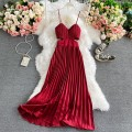 Dress Winter 2020 Fluorescent green, orange red, red, yellow, black, rose red Average size Mid length dress singleton  Sleeveless commute V-neck High waist Solid color Socket A-line skirt routine camisole 18-24 years old Type A Korean version 30% and below other other