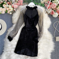 Dress Winter 2020 Black, apricot M, L Mid length dress singleton  Long sleeves commute V-neck High waist Solid color Socket A-line skirt routine Others 18-24 years old Type A Korean version 30% and below other other