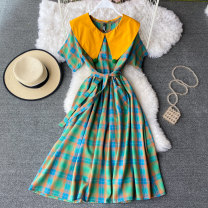 Dress Summer 2021 green Average size Mid length dress singleton  Short sleeve commute Admiral High waist lattice Socket A-line skirt routine Others 18-24 years old Type A Korean version Pocket, lace up 30% and below other other