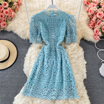 Dress Summer 2021 Black, white, pink, lake blue M, L Mid length dress singleton  Short sleeve commute stand collar High waist Solid color Socket A-line skirt routine 18-24 years old Type A Korean version fold 30% and below other other