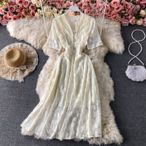 Dress Summer 2021 White, black, off white M,L,XL Mid length dress singleton  Long sleeves commute V-neck Elastic waist Solid color Socket A-line skirt routine Others 18-24 years old Type A Korean version Button, lace 30% and below other other