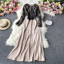 Dress Autumn 2020 black S,M,L,XL Mid length dress singleton  Long sleeves commute Crew neck High waist other Socket A-line skirt routine Others 18-24 years old Type A Korean version 30% and below other other
