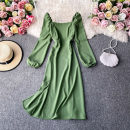 Dress Autumn 2020 S,M,L Mid length dress singleton  Long sleeves commute square neck High waist Solid color Socket A-line skirt routine Others 18-24 years old Type A Korean version 30% and below other other