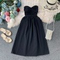 Dress Summer of 2019 Average size Mid length dress singleton  Sleeveless commute other High waist Solid color Socket A-line skirt routine Breast wrapping 18-24 years old Type A Korean version 31% (inclusive) - 50% (inclusive) other
