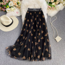 skirt Summer 2021 Average size Black, light brown, off white Mid length dress commute High waist other Solid color Type A 18-24 years old