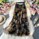 skirt Summer 2021 Average size Dark blue, black, pink flowers on black background Mid length dress commute High waist other Decor Type A 18-24 years old