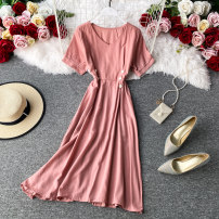Dress Summer 2020 Light green, peacock blue, red, deep pink, orange Average size Mid length dress singleton  Short sleeve commute V-neck High waist Solid color Socket A-line skirt routine Others 18-24 years old Type A Korean version 30% and below other other