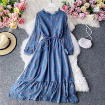 Dress Autumn 2020 Black, blue, pink Average size Mid length dress singleton  Long sleeves commute Crew neck High waist Decor Socket A-line skirt routine Others 18-24 years old Type A Korean version Pleating, stitching, printing 30% and below other other