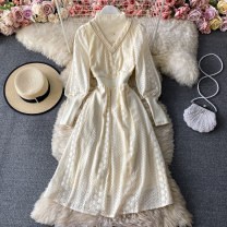 Dress Winter 2020 Off white S,M,L Mid length dress singleton  Long sleeves commute Crew neck High waist Solid color Socket A-line skirt routine Others 18-24 years old Type A Korean version 30% and below other other