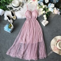 Dress Summer of 2019 Pink, apricot, black, light blue Average size Mid length dress singleton  Sleeveless commute V-neck High waist Solid color Socket Princess Dress other camisole 18-24 years old Type A Korean version Ruffle, open back, fold, Sequin, print