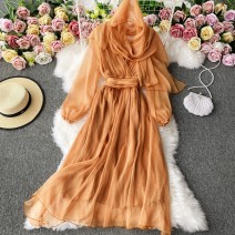 Dress Winter 2020 Yellow orange S,M,L,XL Mid length dress singleton  Long sleeves commute V-neck High waist Solid color Socket A-line skirt routine Others 18-24 years old Type A Korean version 30% and below other other
