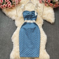 Dress Summer 2021 blue S,M,L,XL Middle-skirt singleton  Sleeveless commute One word collar High waist Decor Socket A-line skirt other Others 18-24 years old Type A Korean version bow , backless , fold , Three dimensional decoration , printing 30% and below other other