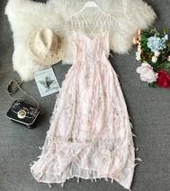 Dress Summer of 2019 Pink XS,S,M,L Mid length dress singleton  Sleeveless commute V-neck High waist Decor Socket Princess Dress other camisole 18-24 years old Type A Korean version