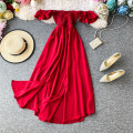 Dress Summer 2020 Average size Mid length dress singleton  Short sleeve commute One word collar High waist Solid color Socket Big swing Lotus leaf sleeve Others 18-24 years old Type A Korean version 30% and below Chiffon polyester fiber