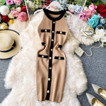 Dress Summer 2020 Red, white, black, khaki, army green, grey Average size Middle-skirt singleton  Sleeveless commute Crew neck High waist Solid color Socket One pace skirt routine Hanging neck style 18-24 years old Type X Korean version Open back, stitching, buttons 30% and below knitting