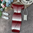 Dress Summer of 2019 Black, red, Burgundy, blue, yellow, pink Average size Mid length dress singleton  Short sleeve commute One word collar High waist stripe Socket One pace skirt routine Breast wrapping 18-24 years old Type X Korean version Backless, pleated, stitched other