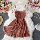 Dress Autumn 2020 Pink, black, wine red Average size Mid length dress singleton  Long sleeves commute One word collar High waist Solid color Socket A-line skirt routine camisole 18-24 years old Type A Korean version 30% and below other other
