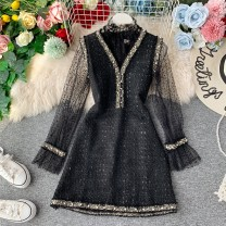 Dress Winter 2020 Black, white M, L Middle-skirt Two piece set Long sleeves commute V-neck High waist Solid color Socket A-line skirt pagoda sleeve Others 18-24 years old Type A Korean version 31% (inclusive) - 50% (inclusive) other other